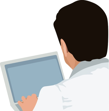 back screen: man and laptop, doctor with laptop  Illustration