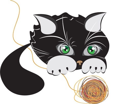 Little black kitten playing with a ball of yarn Vector