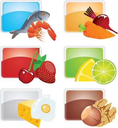 fried shrimp: Set of food - vector icons