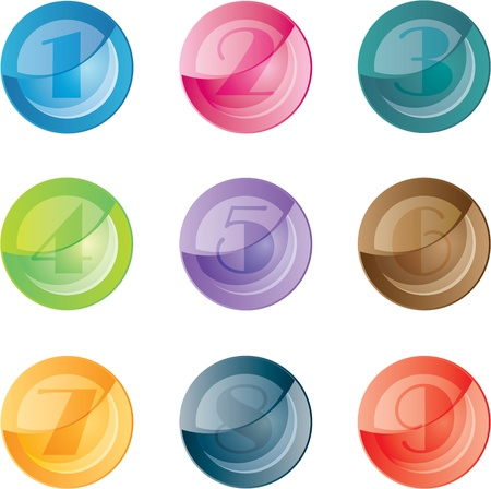 Numbered colored buttons. Vector set icons. Stock Vector - 12002468