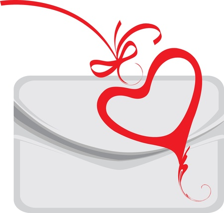 Envelope and decorative heart Vector