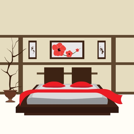 bedroom: interior bedroom, vector illustration