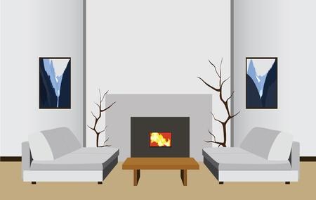 datcha: int�rieur de la chambre avec chemin�e, illustration vectorielle Illustration