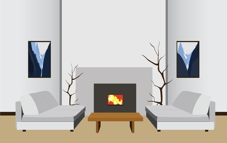 interior room with fireplace, vector illustration Vector