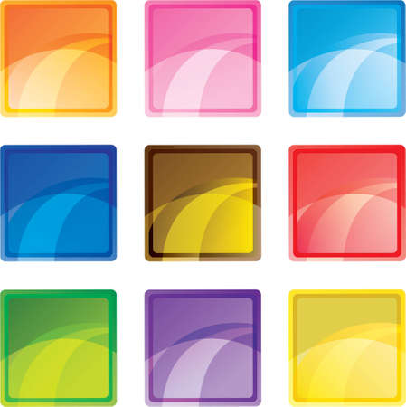9 colored square buttons Vector