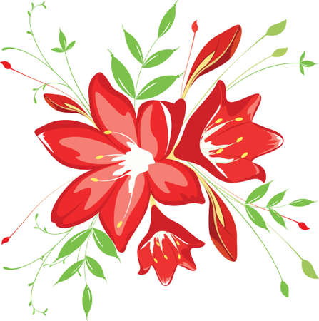 bouquet  flowers and greenery, illustration