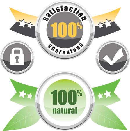 100% natural, satisfaction guaranteed, buttons lock and check Vector