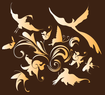 birds of paradise: decorative pattern with flowers, butterflies and birds, illustration