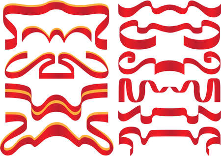Ribbons set , different red ribbons for decoration Vector