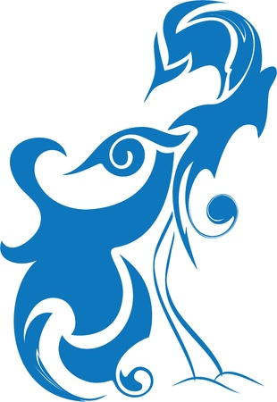 mythical phoenix bird: blue bird of happiness, birds of paradise, abstract stylized bird