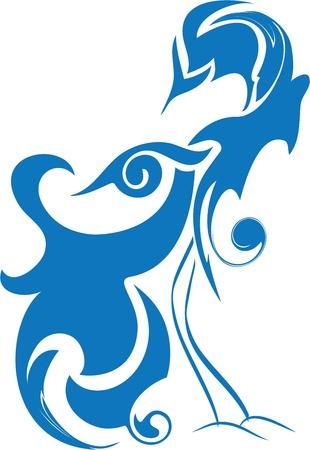 pajaro azul: p�jaro azul de la felicidad, aves del para�so, p�jaro estilizado abstracto