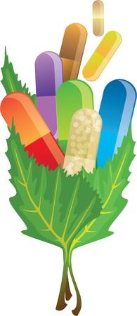 pillen capsules in de bladeren, vector illustratie