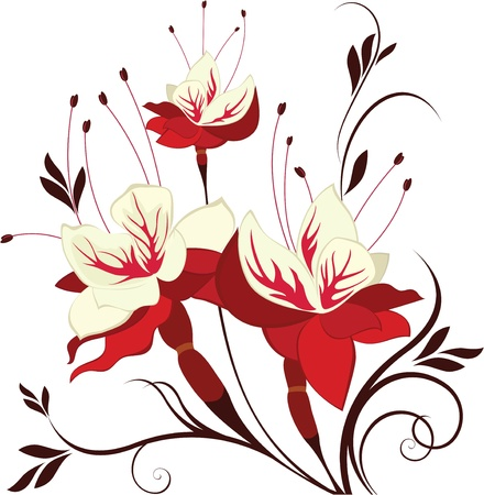 flore: flower fuchsia, decorative composition, bunch of flowers Illustration