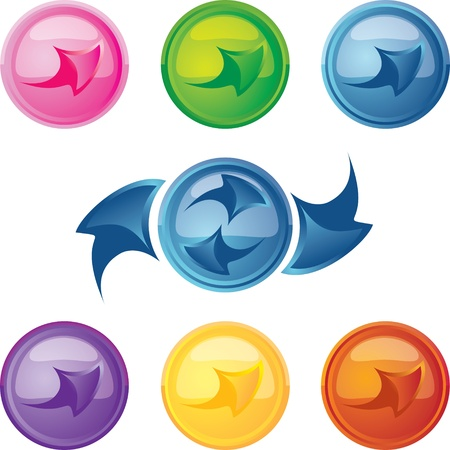 colored buttons with arrows Vector