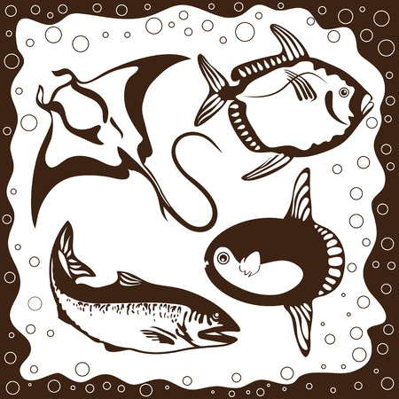 Ocean fish, vector set Vector