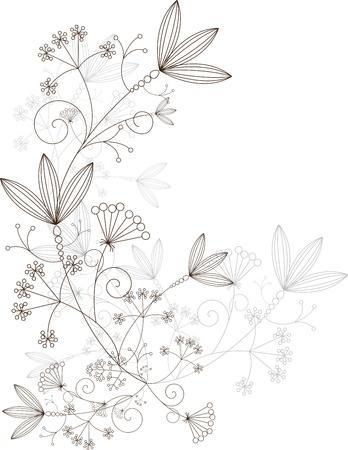 bordes decorativos: hierbas elementos de diseño, ornamento de hierba