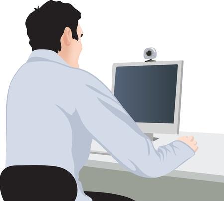 empresario: el hombre y el ordenador, vista posterior