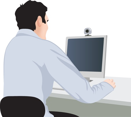 computer graphic design: man and computer, back view