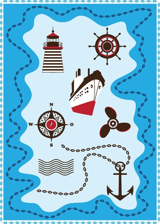 Marine, Sailing and Sea Icons Vector