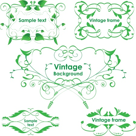 Vintage frames. Vector design elements. Eco green Vector