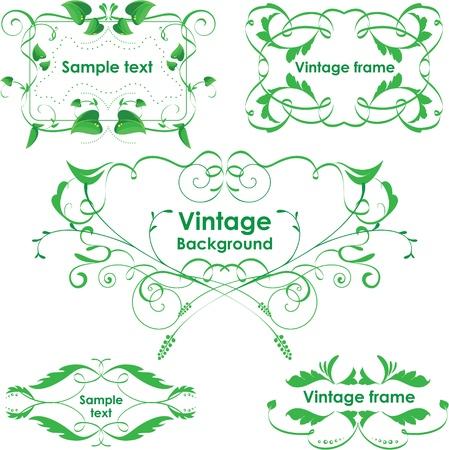 art frame: Vintage frames. Vector design elements. Eco green