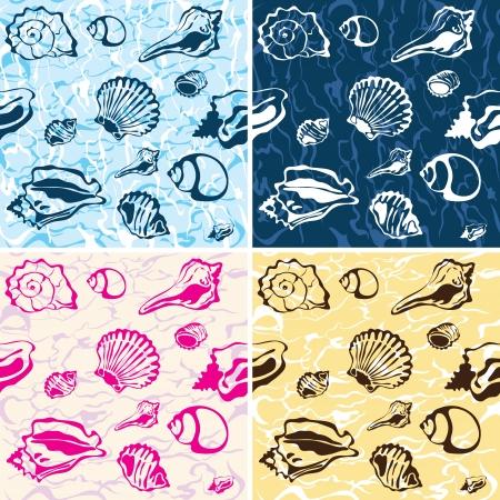 fond marin: fond transparent coquillage Illustration