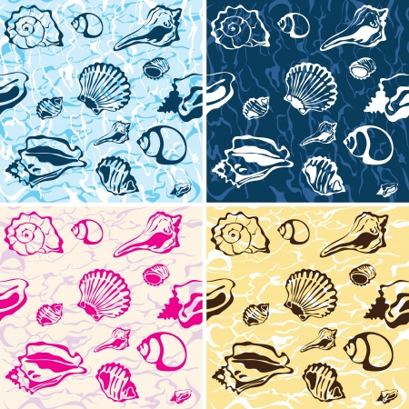 seafood background: seamless seashell background Illustration