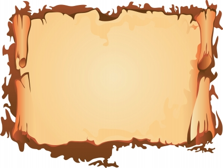 burnt: Old paper scroll, vector illustration