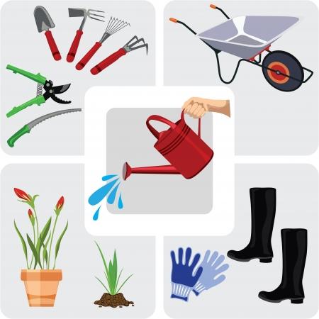 regando el jardin: Iconos de jardiner�a conjunto, ilustraci�n vectorial