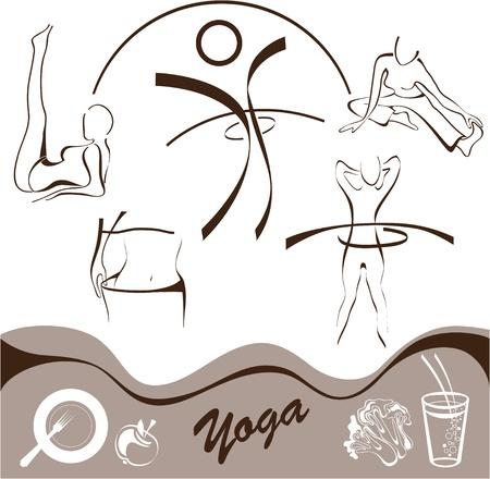 плоть: йоги, набор иконок, логотипов иллюстрации