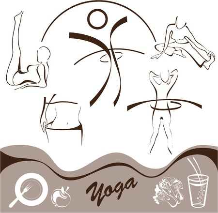 yoga,  set  icon, logos illustration Stock Vector - 14251980
