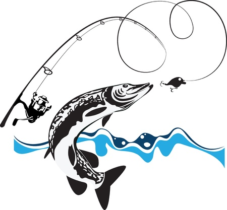 pike, spinning, reel and wobbler, stylized composition, vector illustration