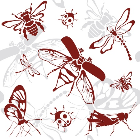 seamless background insects   Vector