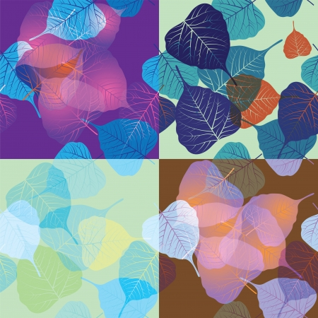 Seamless pattern with colored leaves, set Vector