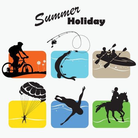 Active rest, summer holiday, set icon Çizim