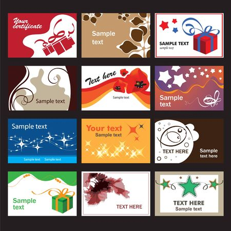 advertising logo: Set of business cards on different  topics