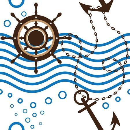 attribute: Naadloze mariene Stock Illustratie