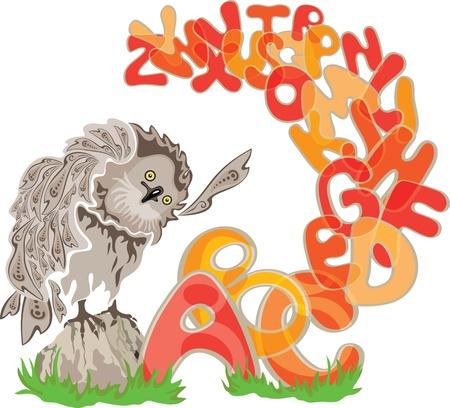 Owl and alphabet Stock Vector - 14805858