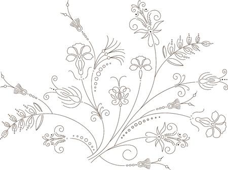 gramineas: Vector dise�o floral, ornamento floral, patr�n planta