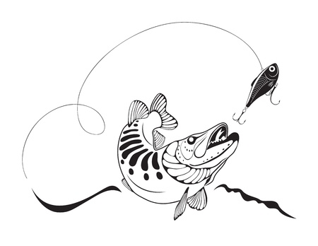 lure fishing: Pike e pesca con esche artificiali Vettoriali