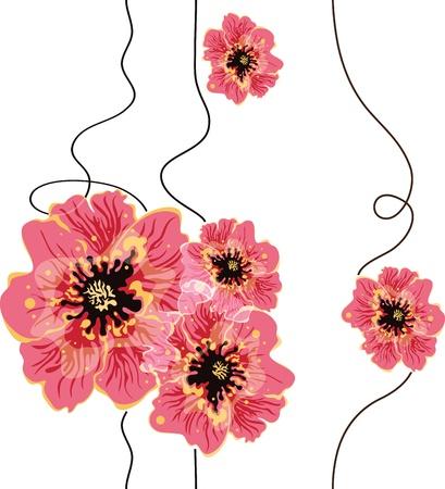 식물상: 원활한 꽃 배경 디자인
