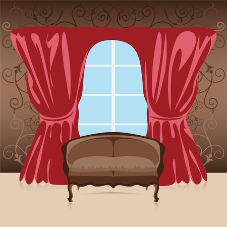 headboard: Interior, sofa in the room against the wall, curtains and window, illustration Illustration