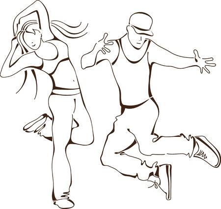 danza contemporanea: hip-hop dance, establezca la gente del icono Vectores