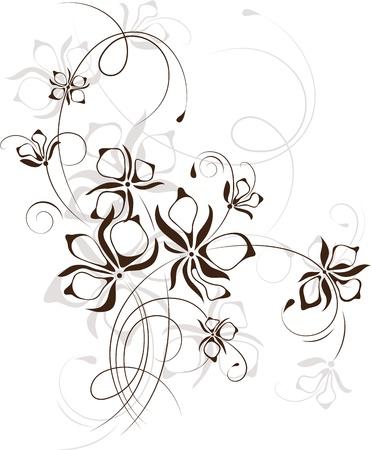 volute: Vintage sfondo floreale, illustrazione vettoriale