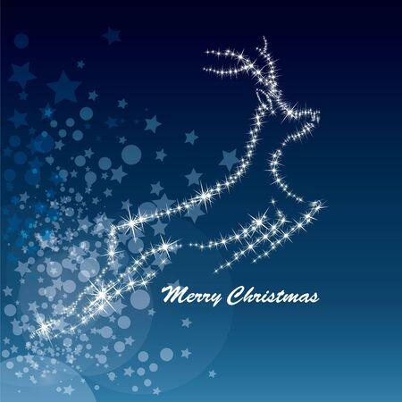 running reindeer: Vector Christmas deer, starry background Illustration