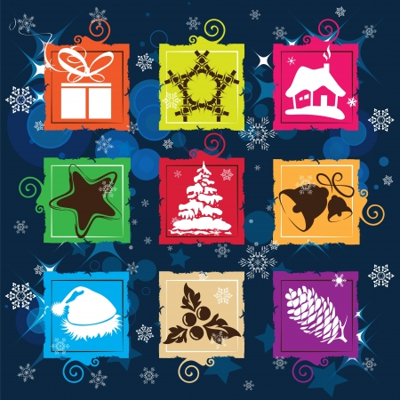 Set vector Christmas icon, seamless background Illustration