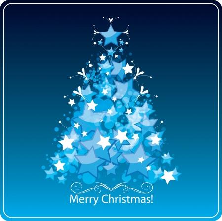 Stylized Christmas tree, greetings card.