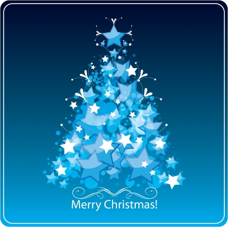Stylized Christmas tree, greetings card.  Vector