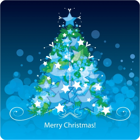 Christmas tree, greetings card Vector