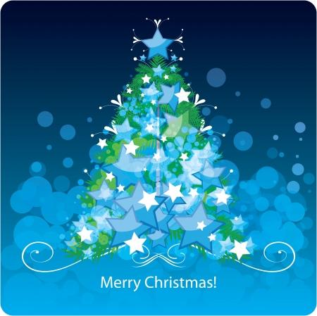 spruce: �rbol de Navidad, tarjeta de felicitaci�n Vectores
